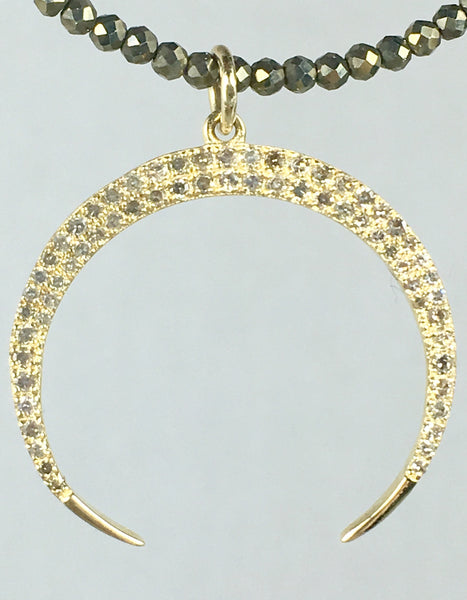 Gold and Diamond Crescent on Pyrite Beads