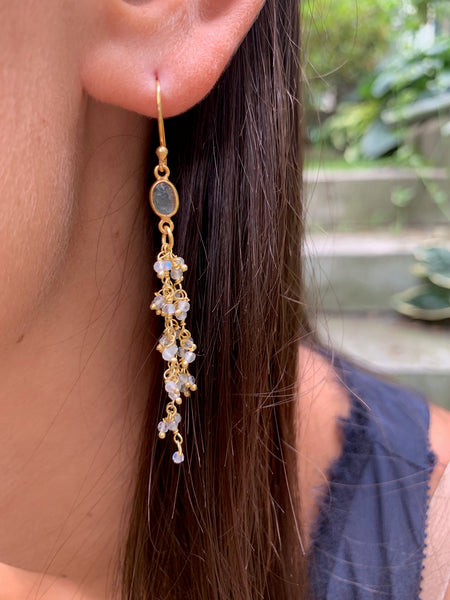 Hanging Moonstone Dancing Earrings
