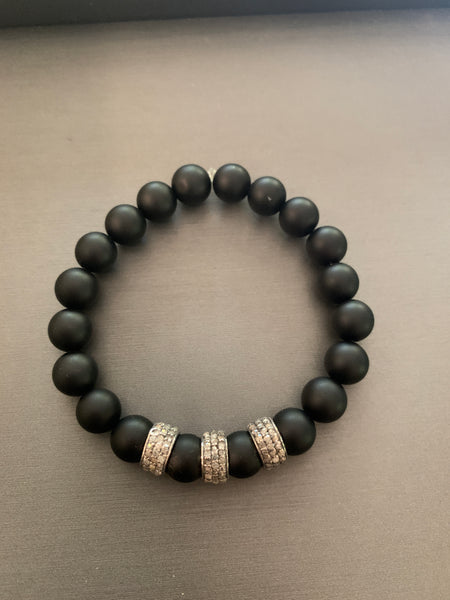 Black Onyx with 3 Diamond Spacers