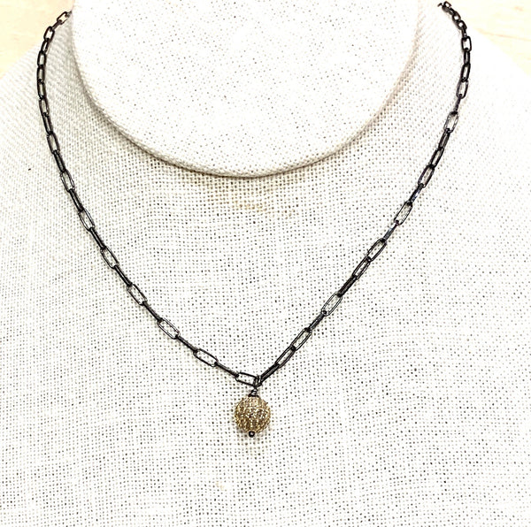 Gold Pave Hanging Ball Necklace