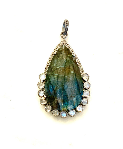 Labradorite Teardrop Pendant with moonstone and diamonds