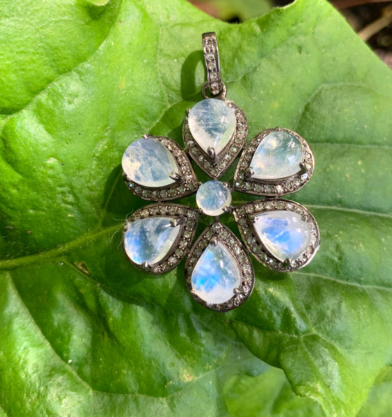 Diamond Edged Moonstone Flower