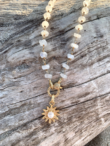 Moonstone Flower on Diamond Clasp Necklace