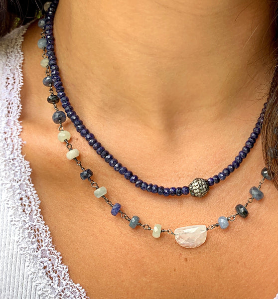 Sapphires with Diamond Barrel Necklace
