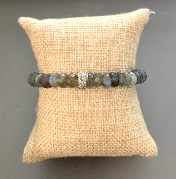 Three Row Diamond Barrel with Labradorite Bracelet
