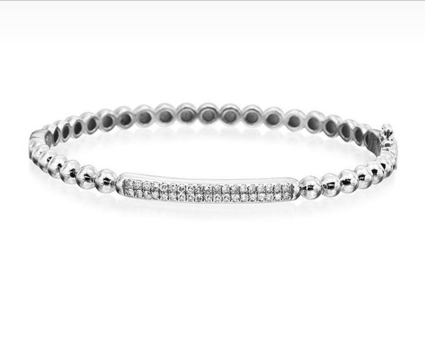 Diamond and sterling silver bead bracelet
