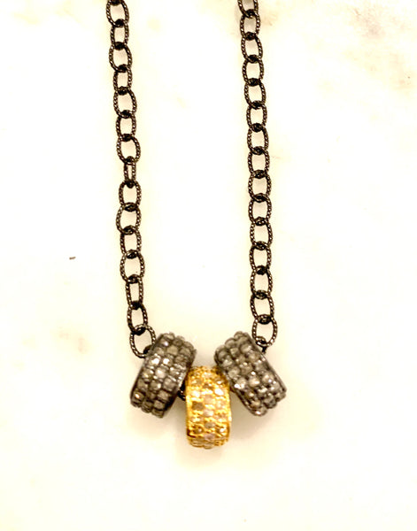 Triple Diamond Barrel Necklace