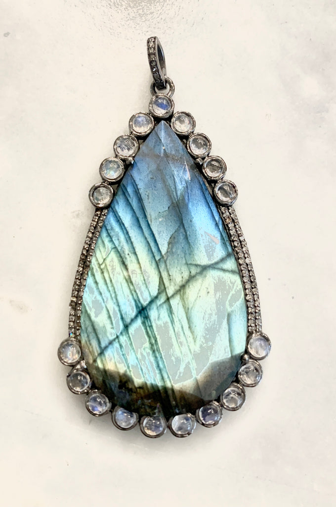 Large Labradorite and Moonstone Teardrop Pendant