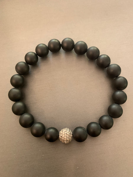 Diamond Ball and Onyx Bracelet
