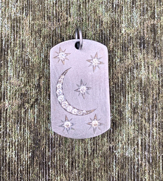 Stars and Moon Dog Tag