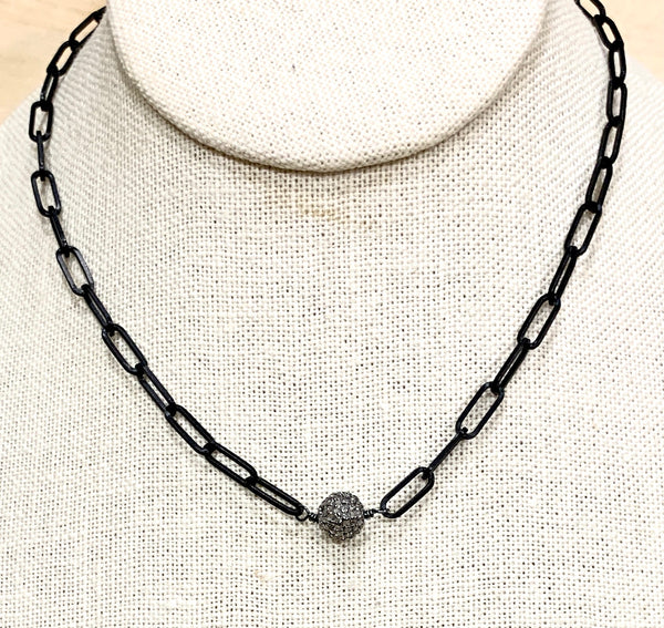Silver Diamond Ball with Black Matte Paperclip Chain
