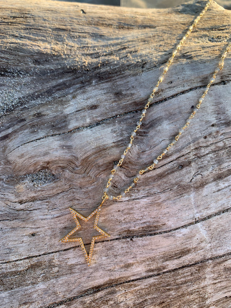 Diamond Star on Moonstone Chain