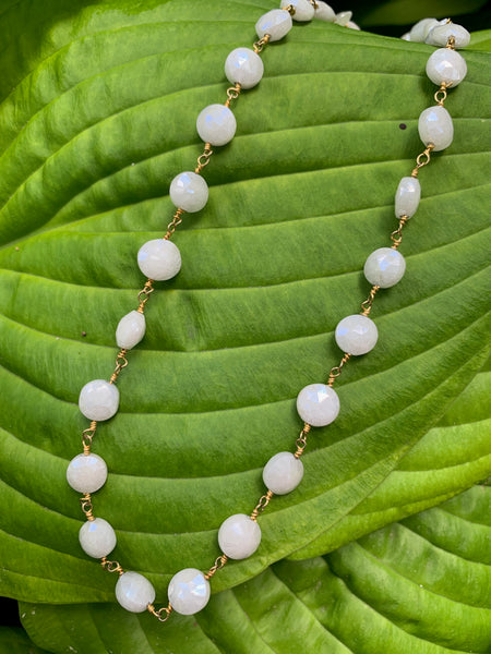 White Silverite on gold wire layering Necklace