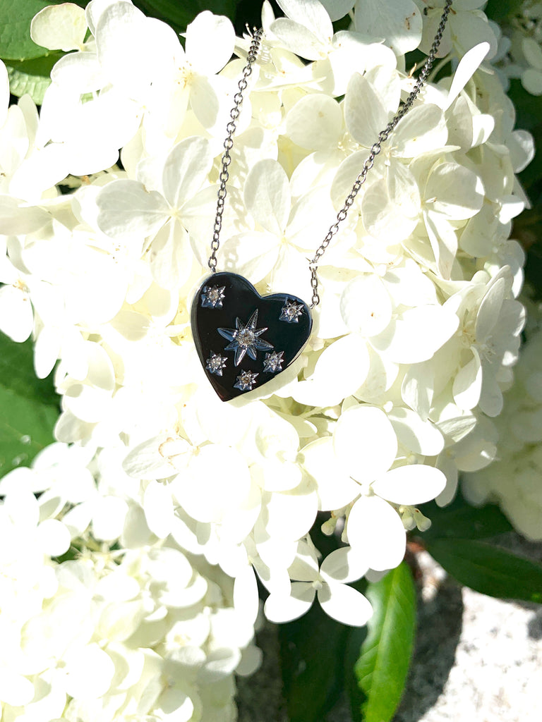 Oxidized Heart with Scattered Diamonds