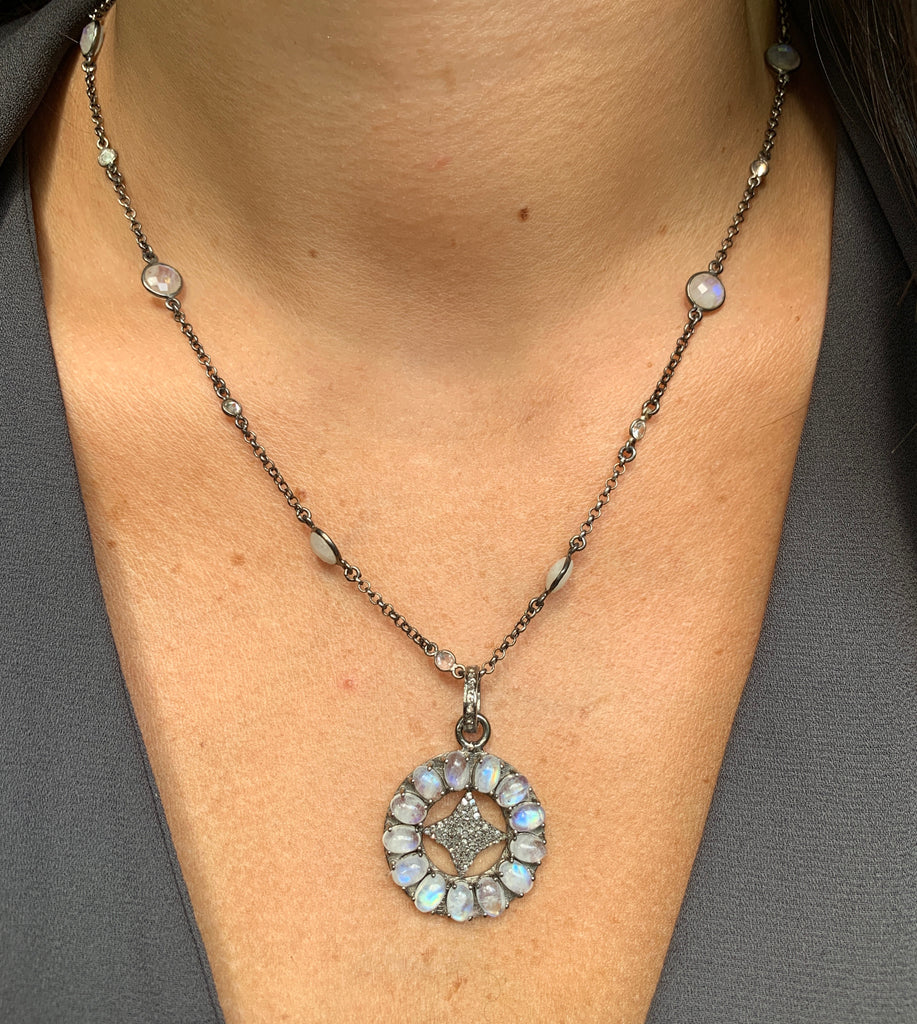 Diamond and Moonstone Flower Necklace