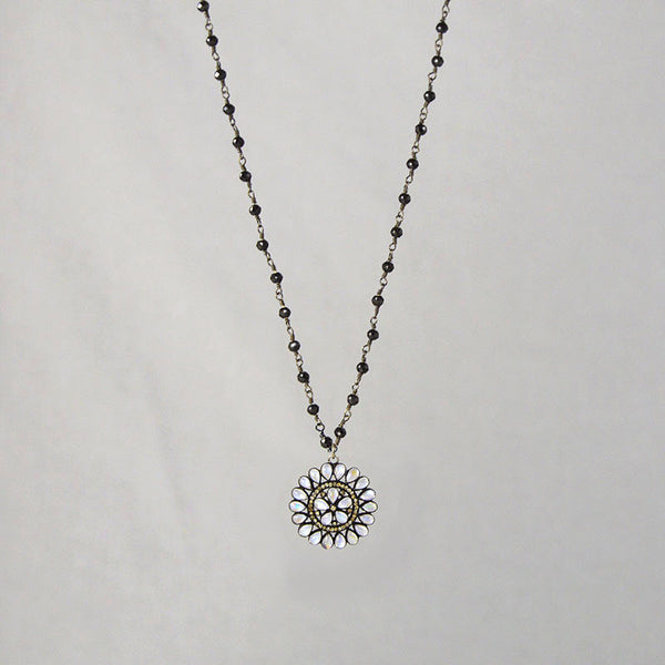 Large Moonstone and Diamond Flower on Black Spinel Bead Necklace