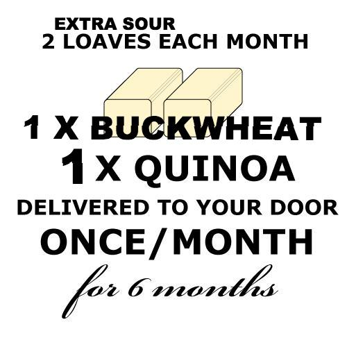 CALIFORNIA BREAD CLUB - 1 Quinoa EXTRA SOUR + 1 Rye-less EXTRA SOUR Loaves ONCE a month for 6 months