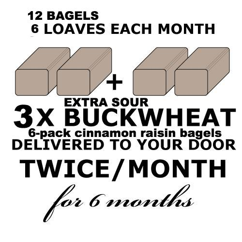 CALIFORNIA BREAD CLUB - 3 EXTRA SOUR Rye-less Rye Buckwheat Loaves and 1x(6 pack)Cin-Raisin Bagels TWICE a month for 6 months
