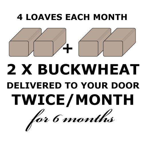 CALIFORNIA BREAD CLUB - 2 Rye-less Rye Buckwheat Loaves TWICE a month for 6 months
