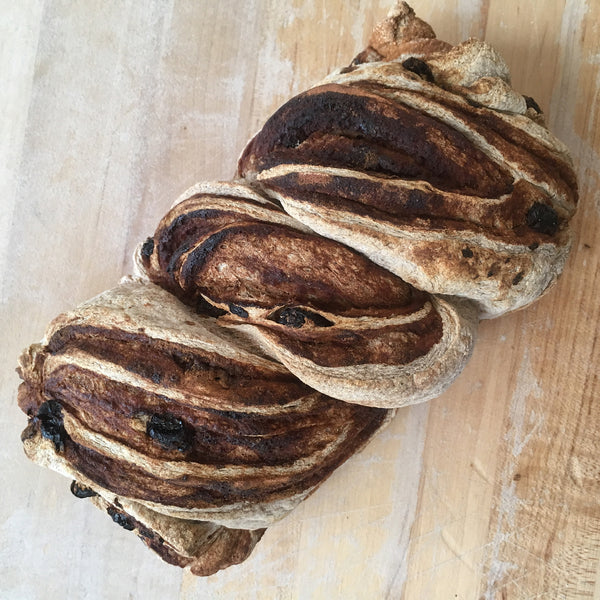 "Cinnamon Raisin Sourdough ""Babka"" Loaf"