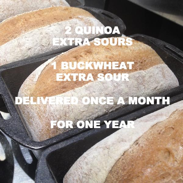 CALIFORNIA BREAD CLUB - 2 Quinoa EXTRA SOUR + 1 Buckwheat EXTRA SOUR Loaf ONCE a month for 1 year