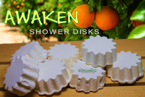 Awaken Shower Disks - Bath Bombs, Handmade Soaps, Sugar Scrubs, Skin Care, Bath Bomb Creamers -  Simply Organico