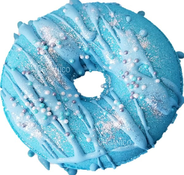 Blue Had Me At Hello Donut Bath Bomb, Lush, Handmade, Handcrafted, Selfcare, Cosmetic, Beauty, Bath and Body, Bath time, Bath art, bath bombs, bath fizzy, fizz, spa, luxury bath