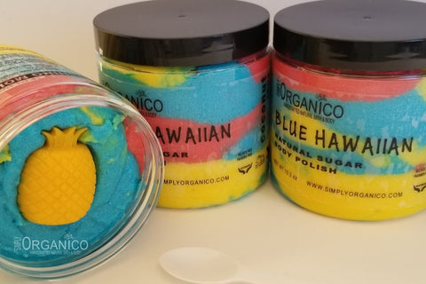 Blue Hawaiian handmade Handcrafte sugar body polish sugar scrub lush cosmetics lushie bath and body works cocktail mixed drink buff exfoliant exfoliate natural organic vegan pineapple extract