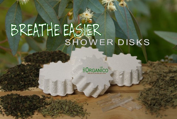 Breathe Easier Shower Disks - Bath Bombs, Handmade Soaps, Sugar Scrubs, Skin Care, Bath Bomb Creamers -  Simply Organico