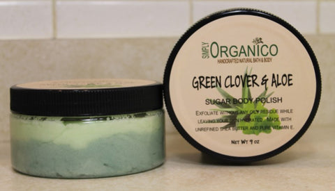 Green Clover and Aloe Handcrafted Handmade Sugar Body Polish Sugar Scrub Simply Organico