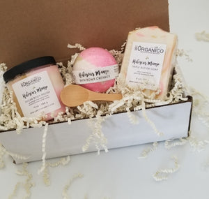 Spa Gift Set Hibiscus Mango, fruity floral, triple butter soap, bath bomb creamer, sugar body polish, sugar scrub, bundle, birthday gift, spa gift, anniversary gift, mothers day gift, metime, pamper, selfcare, bath and body