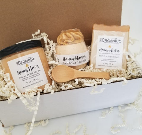 Honey Nectar, sugar body polish, sugar scrub, lush cosmetics, bath and body works, triple butter soap, artisan soap, bath bomb, creamer, bath fizz, spa set, birthday gift, mothers day gift, anniversary gift