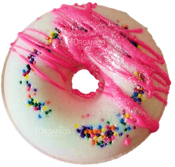 Jubilee Handmade Handrafted Donut Bath Bomb, Lush, Bath and body, cosmetics, beauty, bath fizzy, fizz, confetti, bath time, bath art
