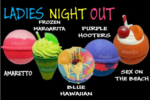 Ladies Night Out Cocktail Bath Bombs Fizzy Fizzies Amaretto Frozen Margarita Blue Hawaiian Purple Hooters Sex on the Beach Shot Mixed Drinks Lush Cosmetics Lushie