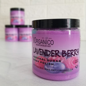 Lavender Berry Sugar Body Polish, body buff, exfoliant, exfoliate, sugar scrub, essential oil, spa treatment, selfcare, bath and body, luxury, handmade, handcrafted, aromatherapy, therapeutic