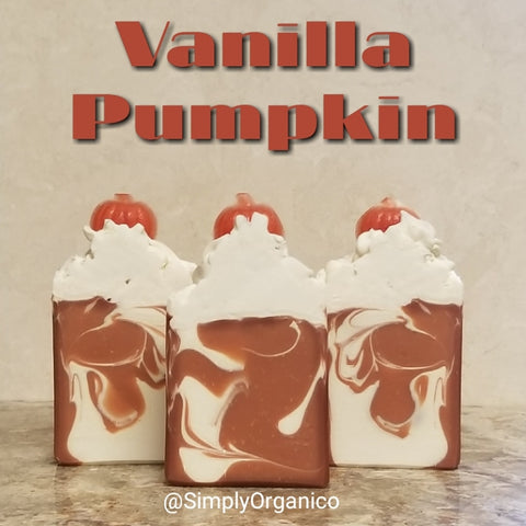 Vanilla Pumpkin Handmade Handcrafted Artisan Soap Seasonal Autumn Fall Cinnamon Sweet Vanilla Triple Butter Soap Lush Bath and Body Natural Skincare Bodycare