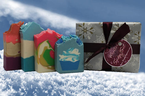 Handmade Handcrafted Winter Soap Set Christmas Triple Butter Soap Coconut Milk Lush Cosmetics Plum Gift Set Artisan Soap