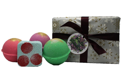Handmade Gift Set Winter Whimsical Berries On Snow Holiday Candy Balsam Citrus Sugar Plum Fairy Bath Bombs Bath Fizzy Lush Cosmetics Christmas