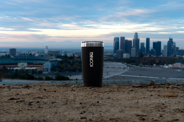 Iconiq 20oz black stainless steel tumbler downtown los angeles
