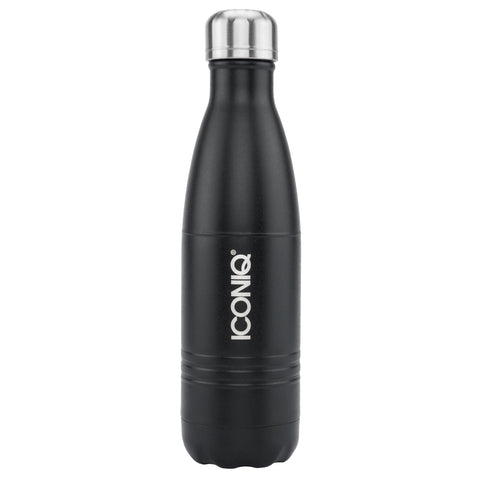 ICONIQ 17oz Black Water Bottle - Stainless Steel Vacuum Insulated