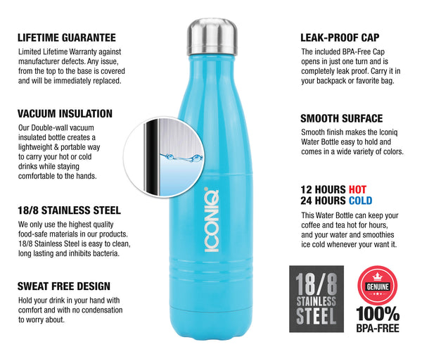 ICONIQ 17oz Gloss Blue Water Bottle - Stainless Steel Vacuum Insulated - description