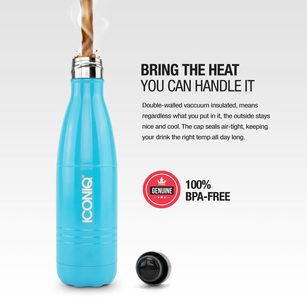 ICONIQ 17oz Gloss Blue Water Bottle - Stainless Steel Vacuum Insulated - heat