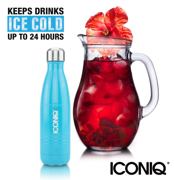 ICONIQ 17oz Gloss Blue Water Bottle - Stainless Steel Vacuum Insulated - ice cold