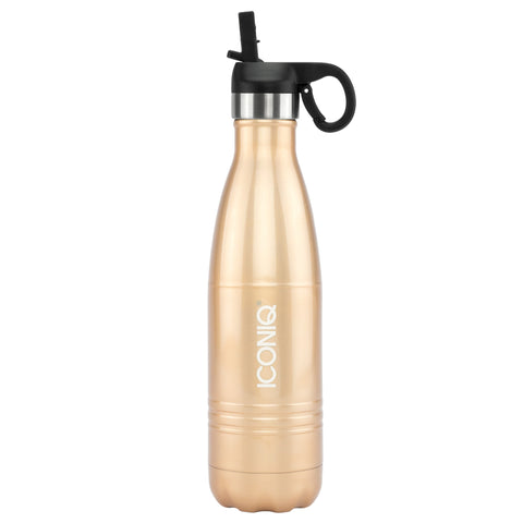 ICONIQ 17oz Champagne Gold Water Bottle with Straw Cap - Stainless Steel Vacuum Insulated