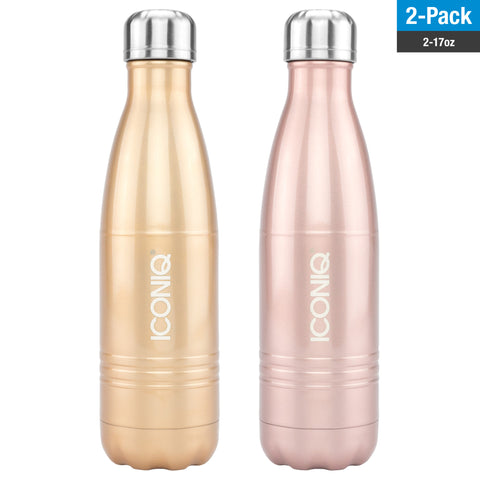 ICONIQ 17OZ Champagne Gold and Rose Gold Bottle Dual Pack - Stainless Steel Vacuum Insulated