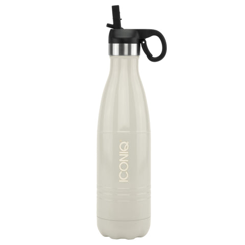 ICONIQ 17oz Gloss Gray Water Bottle with Straw Cap- Stainless Steel Vacuum Insulated
