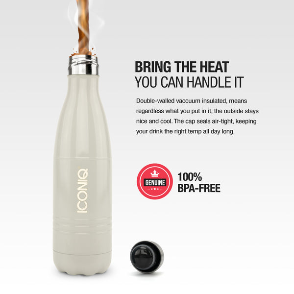 ICONIQ 17oz Gloss Gray Water Bottle - Stainless Steel Vacuum Insulated