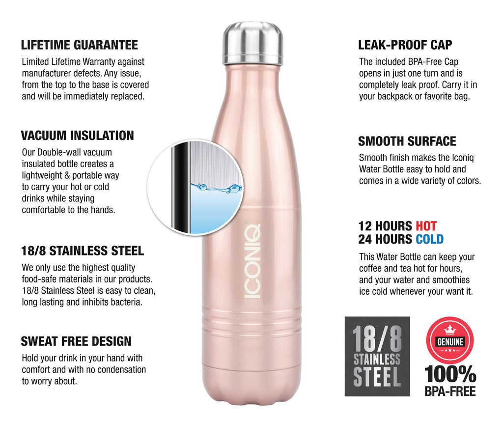 ICONIQ 17oz Rose Gold Water Bottle - Stainless Steel Vacuum Insulated