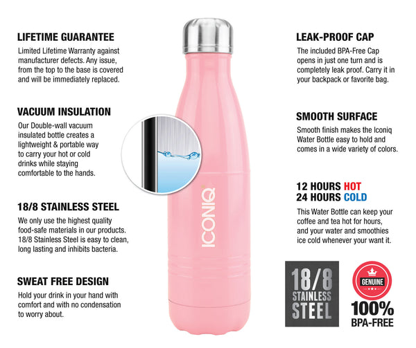 ICONIQ 17oz Gloss Pink Water Bottle - Stainless Steel Vacuum Insulated