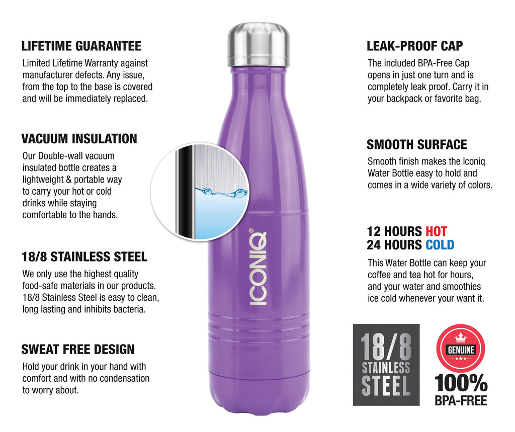 ICONIQ 17oz Gloss Purple Water Bottle - Stainless Steel Vacuum Insulated